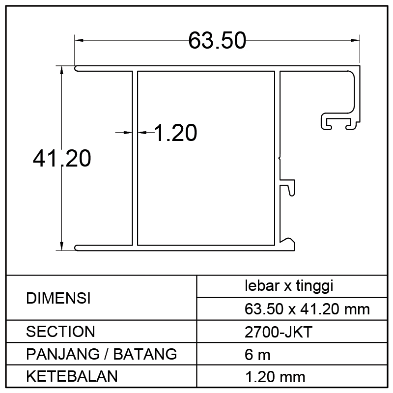 AMBANG ATAS SWING DOOR (63.50 x 41.20)