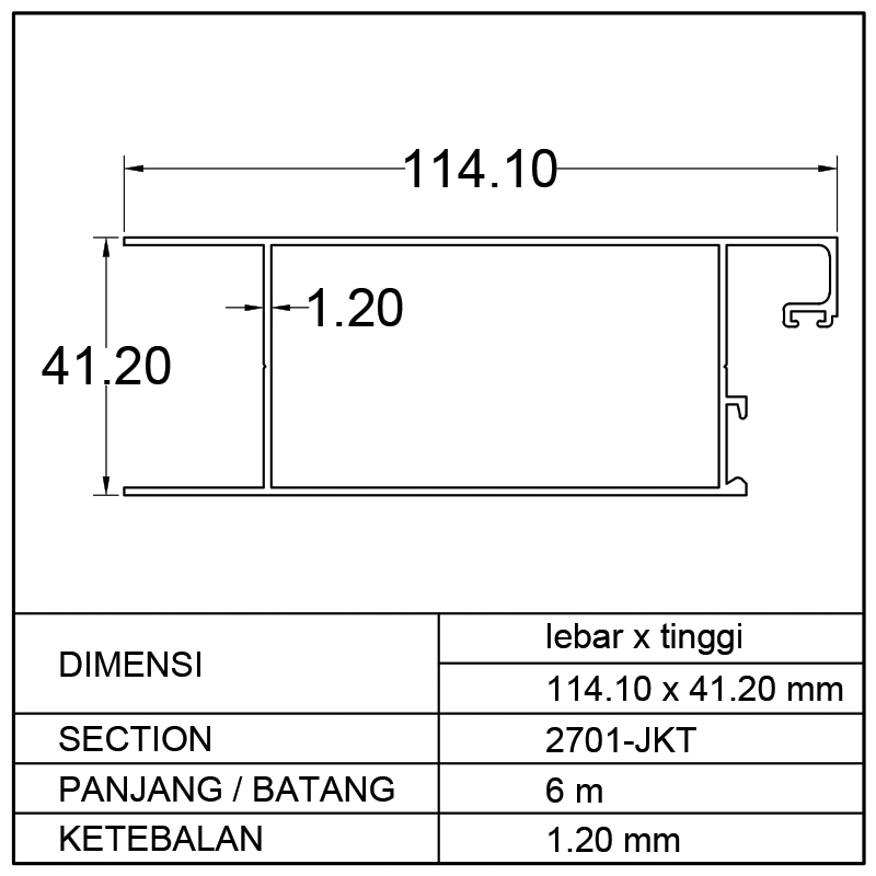 AMBANG BAWAH SWING DOOR (114.10 x 41.20)mm