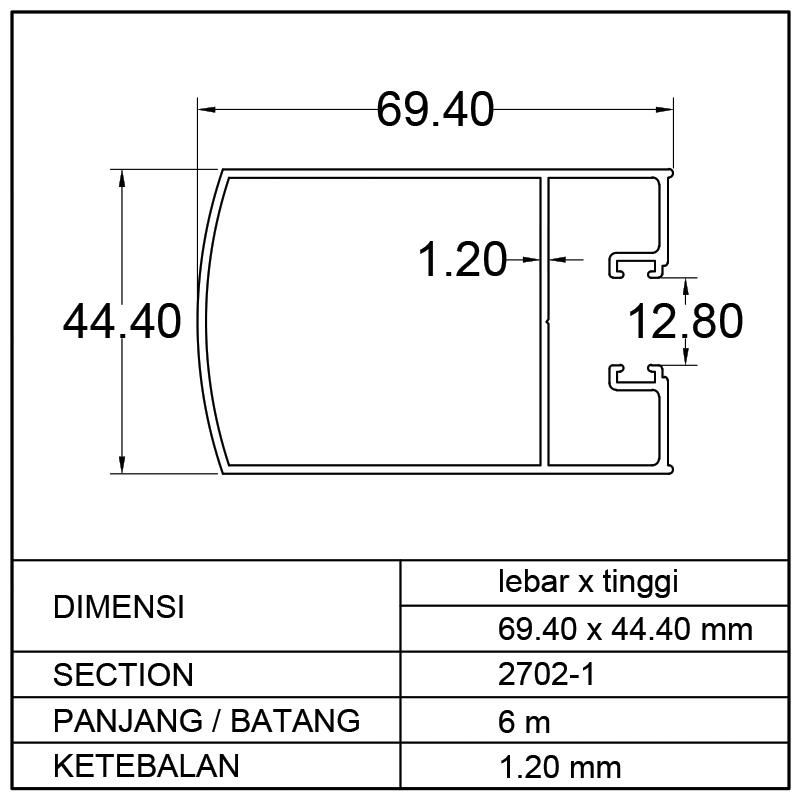 TIANG POLOS SWING DOOR (69.40 x 44.40)mm