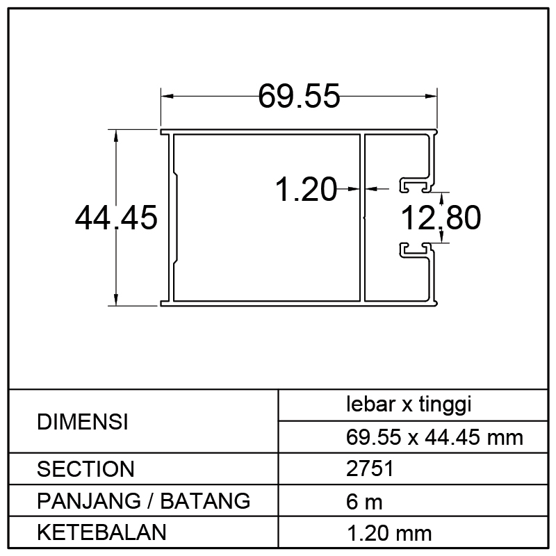 TIANG PETAK SWING DOOR (69.55 x 44.45)mm