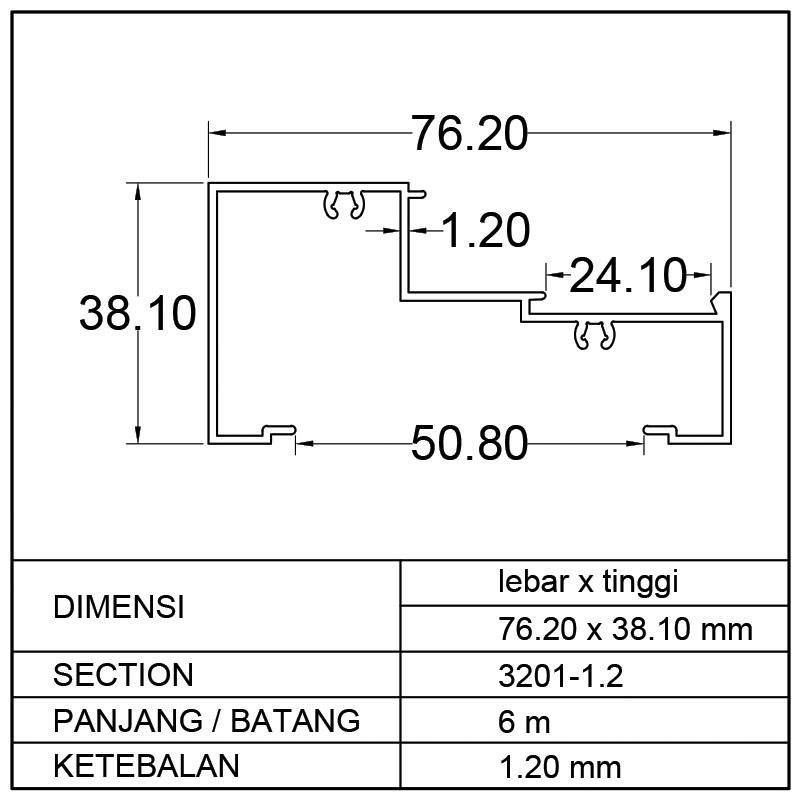 KUSEN 1/2 M (PB) 76.20 x 38.10mm