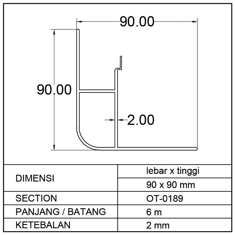 PROFIL BOX MOBIL (90 x 90)mm