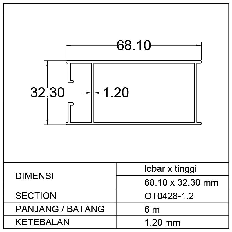 TIANG POLOS JUMBO (68.10 x 32.30)mm